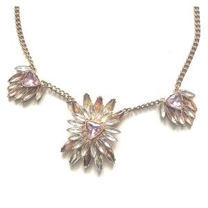 Beautiful pink and gold jeweled necklace